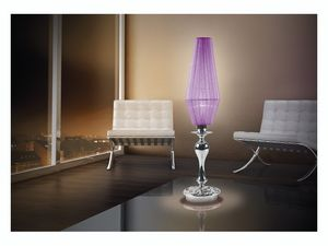 Karma table lamp, Lampe de bureau avec 1 lumi�re, bob�ches de verre contenant du chrome