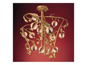 Melograno chandelier, Lustre classique en métal doré et verre craquelé