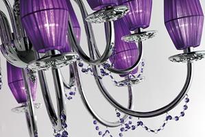 Milady chandelier, Lustre avec bobèches de verre métallisées