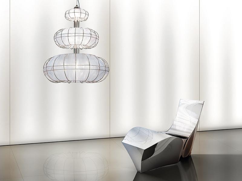 Moon chandelier, Lustre moderne avec des lumières sur 3 niveaux, de formes simples
