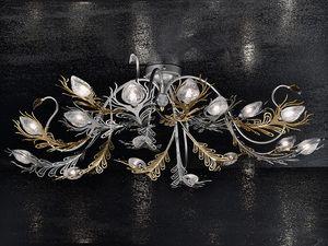 Musa ceiling lamp, Applique en fer peint en or et du chrome