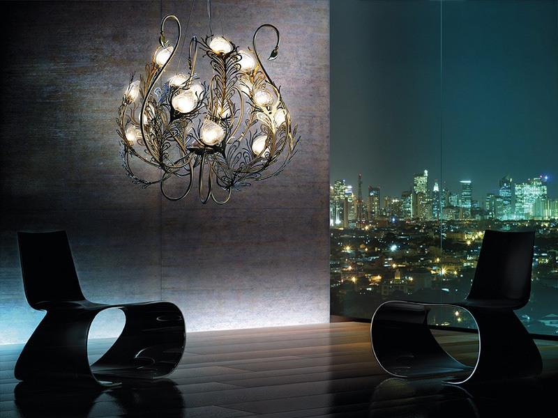 Musa chandelier, Lustre en métal, des diffuseurs en verre de Murano