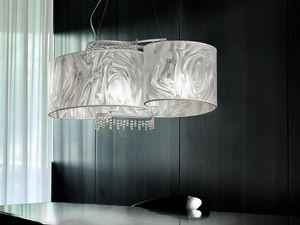 Onda hanging lamp, Suspension avec des pendentifs en verre au plomb