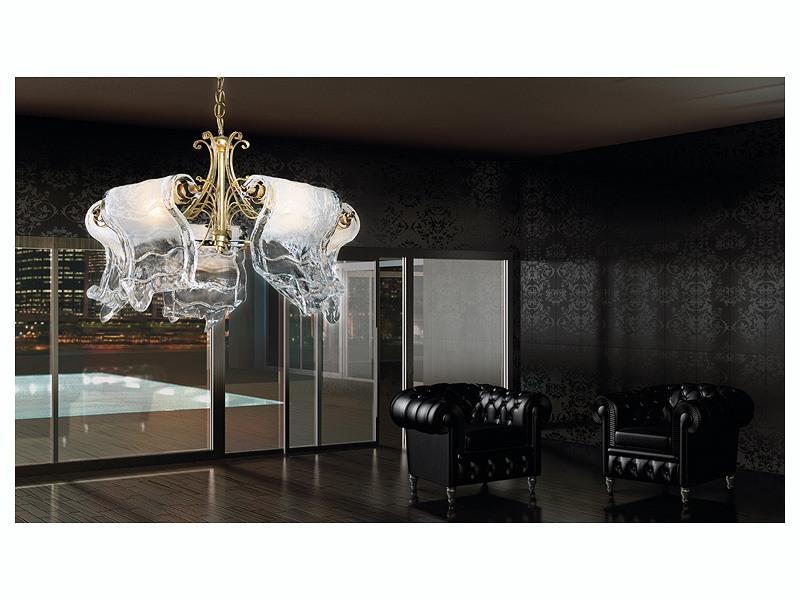 Poeme chandelier, Lustre à 5 lumières avec des diffuseurs en verre de Murano