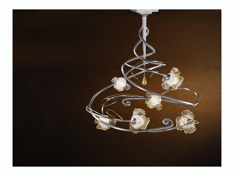 Rose ceiling lamp, Lustre moderne avec 6 lumières et pendentif de verre centrale