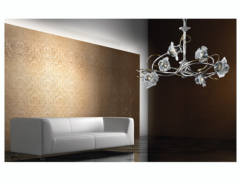 Rose chandelier, Lustre moderne avec structure en fer forgé à la main
