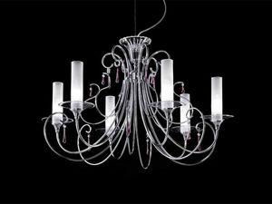 Sinfonia chandelier, Lustre avec cadre en main en métal chromé