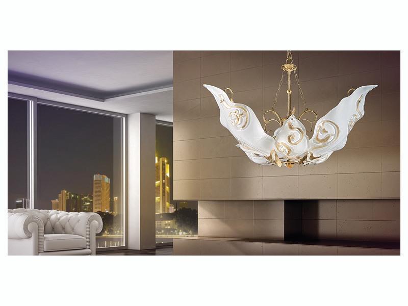 Sirio hanging light, Lustre avec des diffuseurs en verre de Murano décoré à la feuille