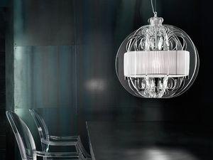 Sphera chandelier, Lampe de suspension moderne avec des éléments de plexiglas