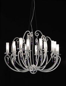 Valentina ceiling lamp, 12-bras lustre, bobèches et pendeloques de cristal