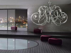 Vanity chandelier, Lustre en laiton, formes voluptueuses de diffuseurs de verre