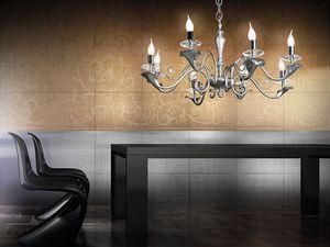 Varsailles chandelier, Lustre à 8 lumières, feuille décoré de détails