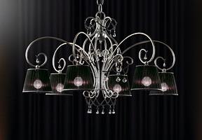 Venezia chandelier, Lustre en fer forgé à la main, des colliers en verre de Murano