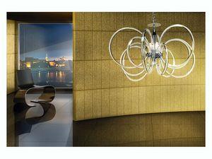 Vogue chandelier, Lampe suspension, en laiton avec des diffuseurs en verre