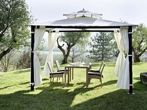 Hawaii, Gazebo Fer, forgarden, avec curtanis, fixable au sol