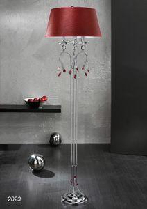Art. 2023 Soiree, Lampadaire en laiton chromé avec décors en cristal