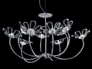 Daisy chandelier, Lustre avec cadre, diffuseurs en verre métal chromé