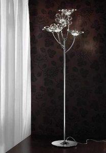 Daisy permanent, Lampadaire en métal chromé avec diffuseurs en verre