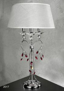 Art. 2017 Soiree, Lampe de table en laiton chrom� avec cristal et abat-jour