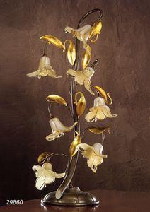 Art. 29860 Jolie, Lampe de table avec des fleurs en verre d�coratives