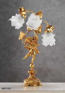 Art. MER 553, Lampe de table avec des roses en verre de Murano