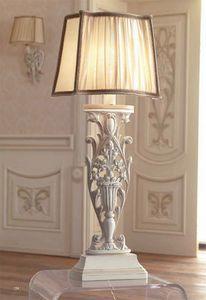 Luigi XVI Art. ABA01/VSIN01/L43, Lampe avec abat-jour en soie � volants