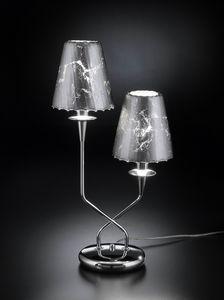 OPERA H 50, Lampe de table avec 2 abat-jours en cristal