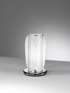 Orione Rt389-020, Lampe de table artisanale en verre blanc