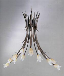 744114, Lustre avec diffuseurs en forme de fleur