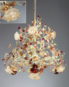 986110, Lustre avec diffuseurs en verre de Murano