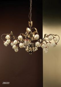 Art. 28020 Fior di Loto, Lustre élégant orné de fleurs en verre soufflé