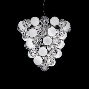 Atmosphera SS2800_08-51-WJ-N, Lampe à suspension avec sphères de verre blanches et décorées
