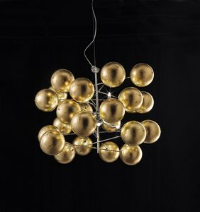 ATOM Ø 80, Lustre avec des sphères de feuille d'or