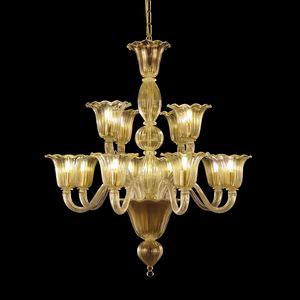 Bellepoque LE0364-8+4-K, Lustre en cristal avec des lumières décalées