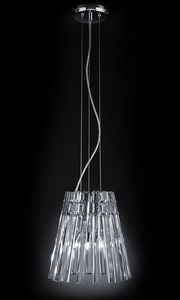 CIRCLE Ø 32, Lampe à suspension avec pendentifs en cristal transparent