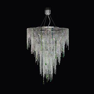 Circus SS4065-75×90-N-G, Lampe à suspension avec des cristaux transparents et verts