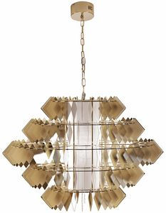 Diamante new lampe, Chandelier avec des feuilles d'acier, finition or pâle