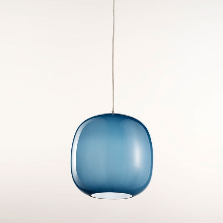 Forme Ls625-025, Lustre en verre satiné bleu
