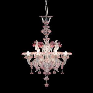 Galliano L0402-6-CRZ-MB, Lustre en verre avec des reflets roses
