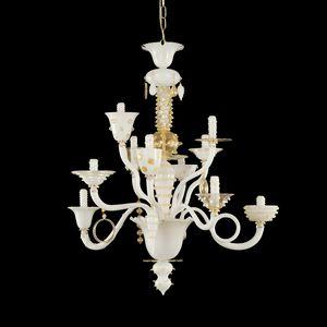 Goblin L1075-10-WCK, Lustre blanc et feuille d'or, style vénitien