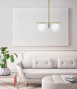 Jugen, Suspension à deux lumières en verre soufflé blanc