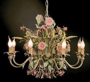 L.3521/8, Lustre avec des décorations florales en fer forgé