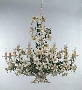 L.4340/12+6, Lustre avec des décorations florales en fer forgé