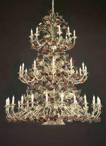 L.5105/24+12+9, Lustre à 3 étages avec décorations florales