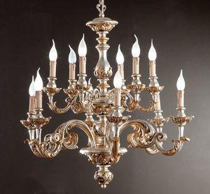 L.7445/6+6, Lustre avec décorations en argent et or pur