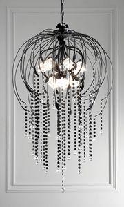 L.7935/12, Lustre avec pendentifs décoré en noir brillant