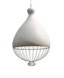 Le Trulle SE653T, Lampe avec abat-jour en céramique, avec partie inférieure en fil métallique