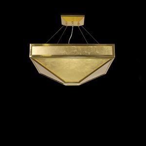 Mystique SS7800-K5K1, Lampe à suspension avec des feuilles en verre feuille d'or
