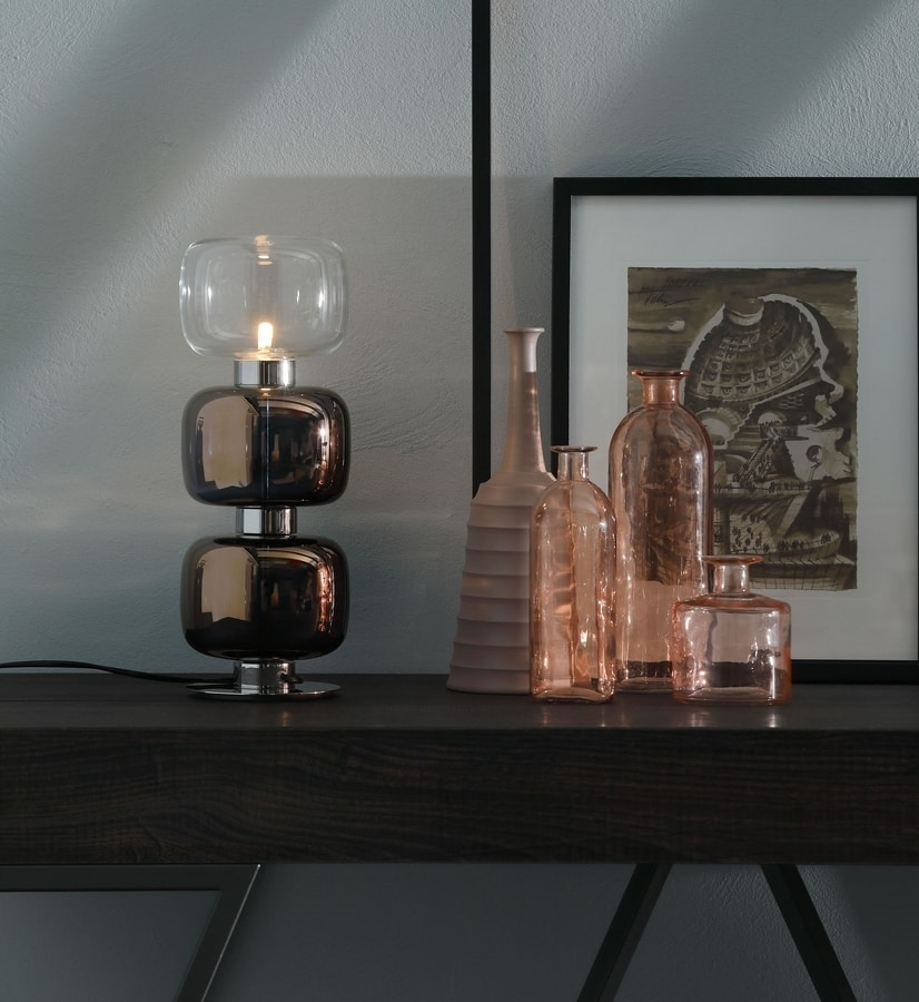 RETRO', Lampe de table et suspension avec diffuseur en métal et verre