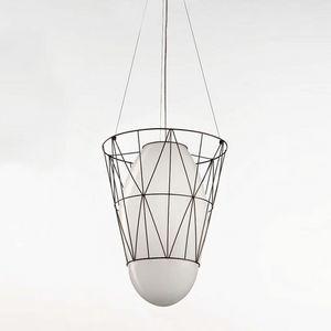 Segni Ms434-040, Lampe à suspension en tige métallique et verre blanc
